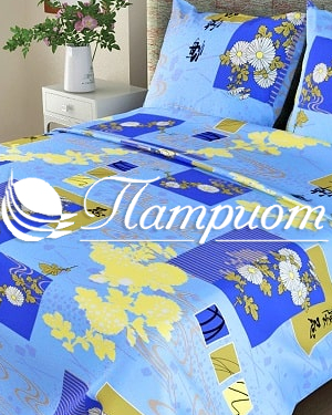 КПБ 1.5 спальный Этюд, голубой, набивная бязь 125 гм2 303-1