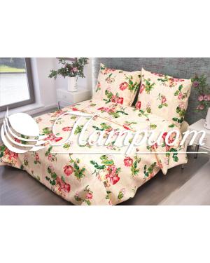 КПБ 1.5 спальный Розы, бежевый, набивная бязь 125 гм2 316-1