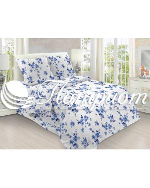 КПБ 1.5 спальный Сакура, голубой, набивная бязь 142 гм2 157-1